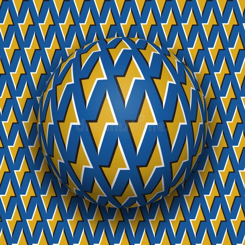 La palla con un modello blu dei fulmini dorati rotola lungo la superficie dorata del blu dei fulmini Illusione ottica di vettore  royalty illustrazione gratis
