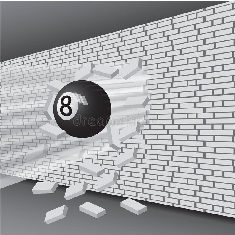 La palla da biliardo ha rotto la parete royalty illustrazione gratis