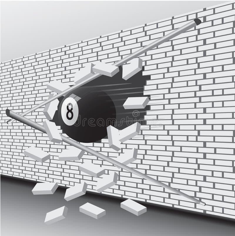 La palla da biliardo ha rotto la parete illustrazione vettoriale