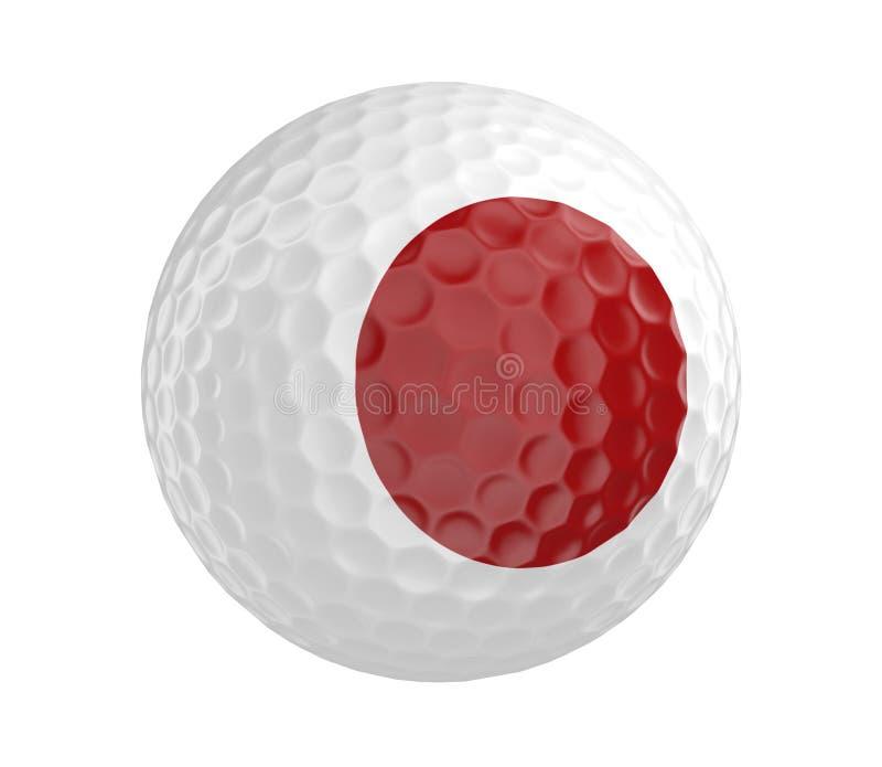 La palla da golf 3D rende con la bandiera del Giappone, isolata su bianco illustrazione di stock