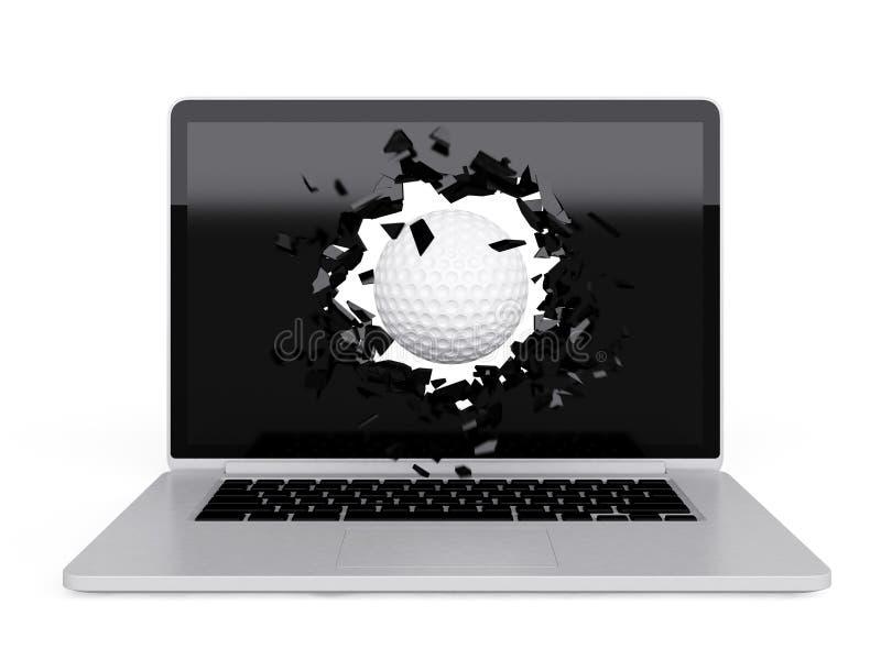 Download La Palla Da Golf Distrugge Il Computer Portatile Illustrazione di Stock - Illustrazione di concetto, taccuino: 56891773