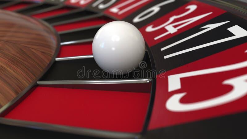 La palla della ruota di roulette del casinò colpisce il nero 17 diciassette rappresentazione 3d fotografia stock
