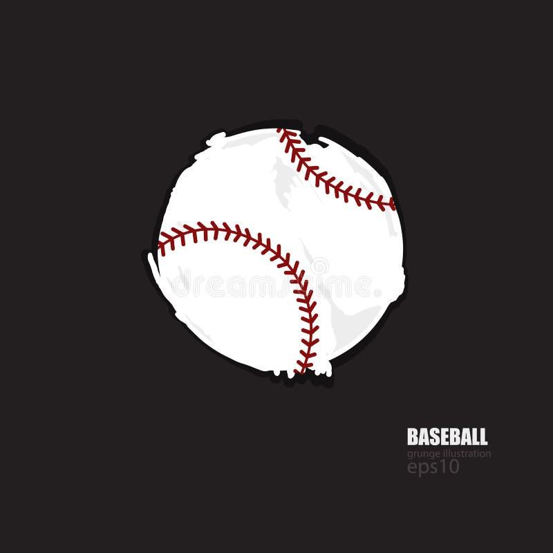La palla di baseball dell'estratto di vettore ha isolato Il lerciume ha strappato l'elemento per l'insegna di progettazione, mani illustrazione di stock