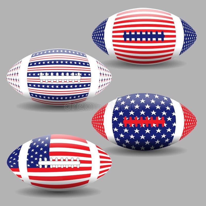 La palla di football americano con la bandiera di U.S.A. ha isolato Icone della palla di rugby, logo illustrazione di stock