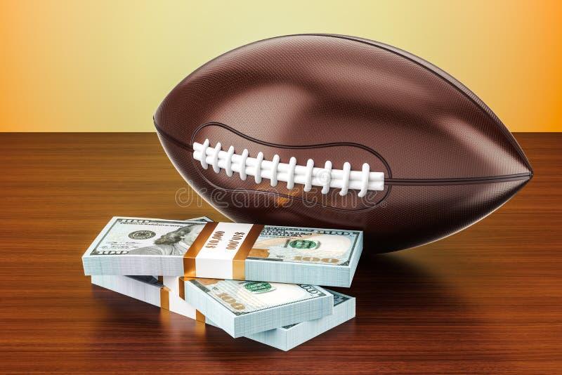 La palla di football americano con il dollaro ingrassa la tavola di legno, 3D illustrazione di stock