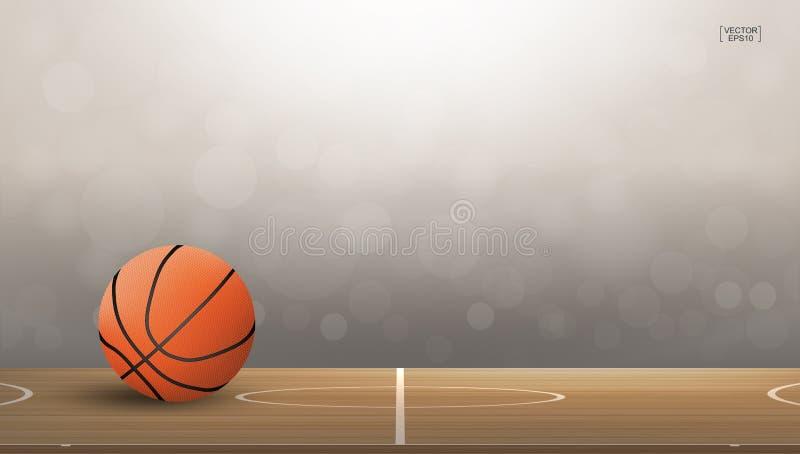 La palla di pallacanestro su area del campo da pallacanestro con luce ha offuscato il fondo del bokeh royalty illustrazione gratis