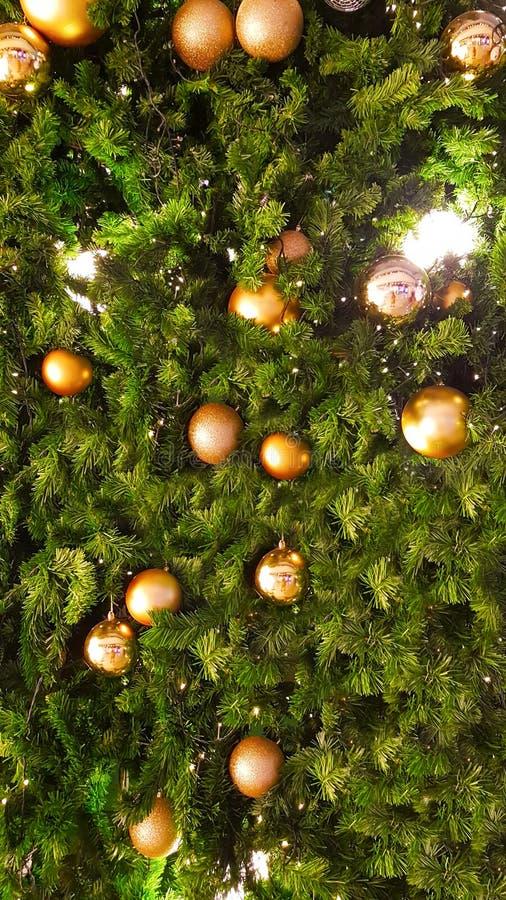 La palla dorata sull'albero di Natale fotografia stock