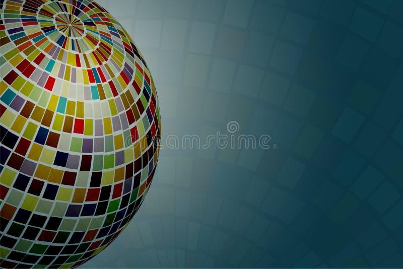 La palla scintillante e variopinta della discoteca con la riflessione variopinta splende e si sparsa intorno su fondo illustrazione vettoriale