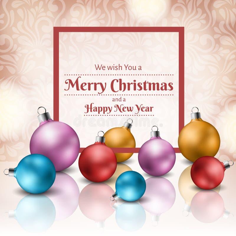La palla variopinta di Natale ha messo con la struttura rossa per i messaggi di festa royalty illustrazione gratis