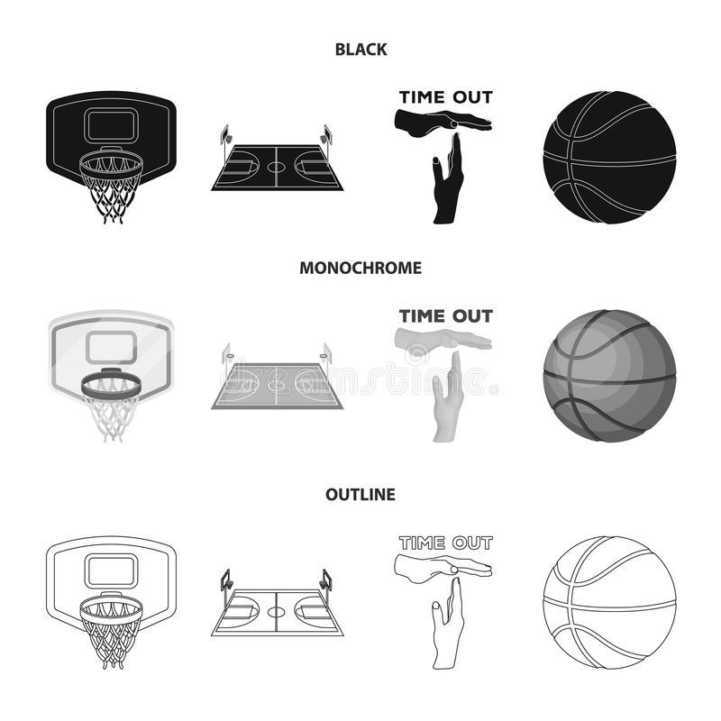 La pallacanestro e gli attributi anneriscono, monocromio, icone del profilo nella raccolta dell'insieme per progettazione Giocato royalty illustrazione gratis
