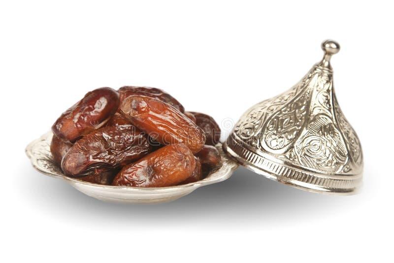 La palma del dattero secco fruttifica o kurma, alimento (ramazan) del Ramadan fotografia stock libera da diritti