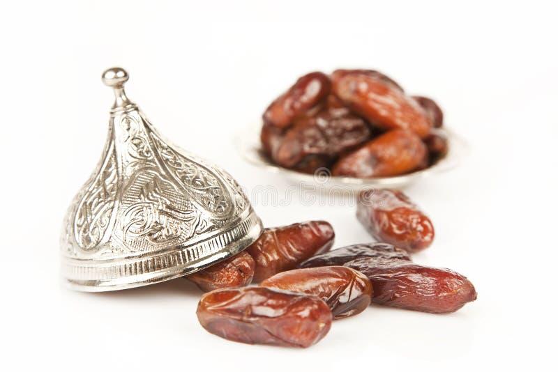 La palma del dattero secco fruttifica o kurma, alimento (ramazan) del Ramadan immagini stock