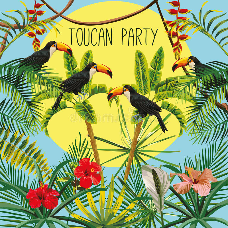 La palma del plátano del lema del partido del tucán florece las hojas y el backg del cielo del sol ilustración del vector