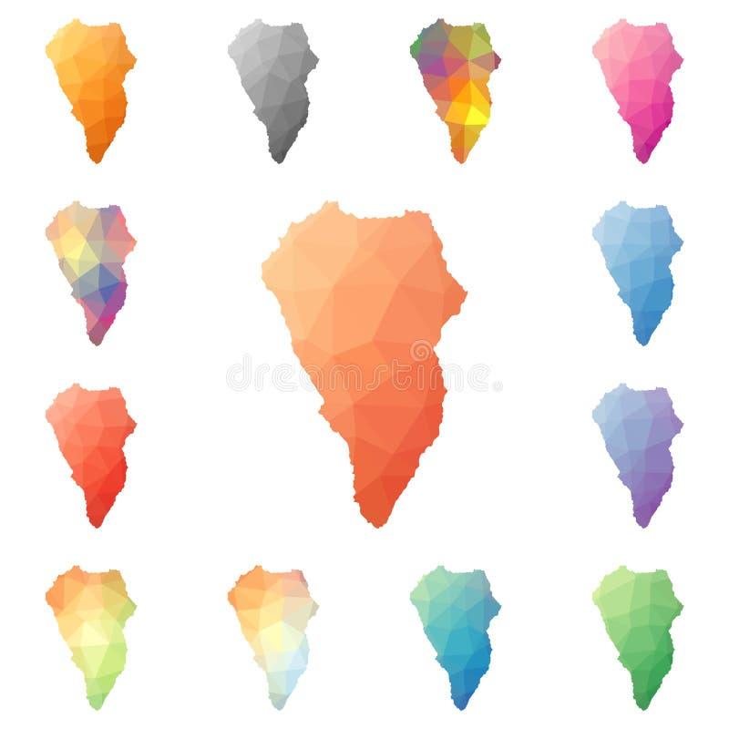 La Palma geometric polygonal, mosaic style island. royalty free illustration