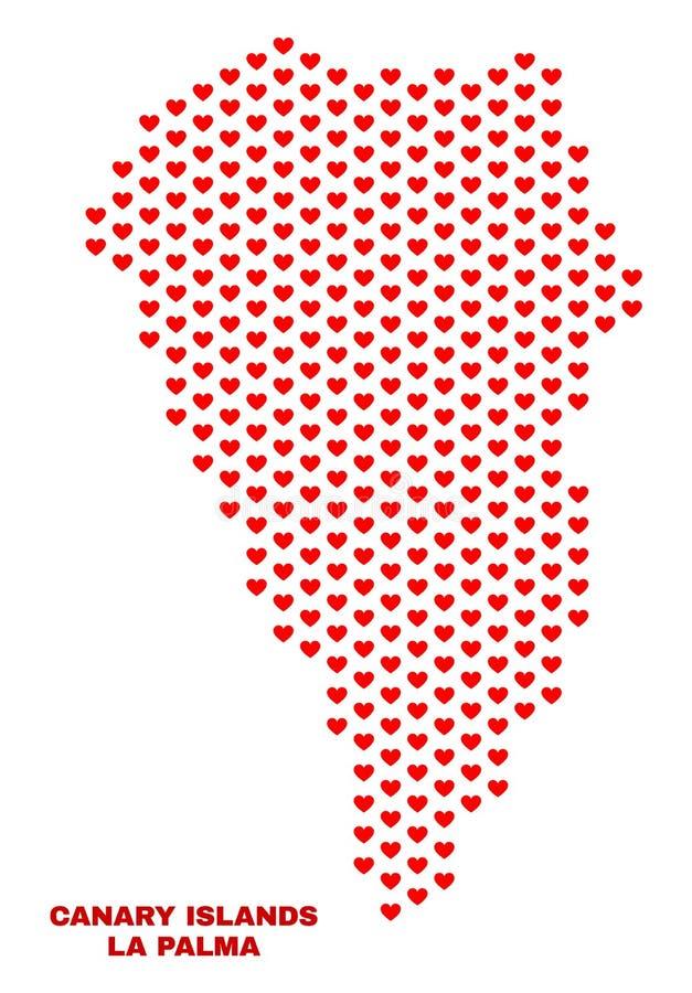 La Palma Island Map - Mosaic of Lovely Hearts vector illustration
