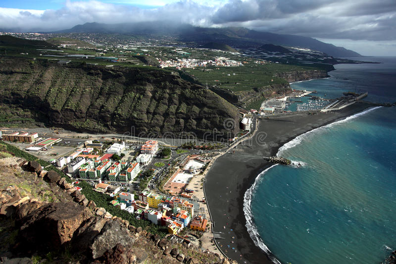 La Palma, litoral Tazacorte imagem de stock royalty free