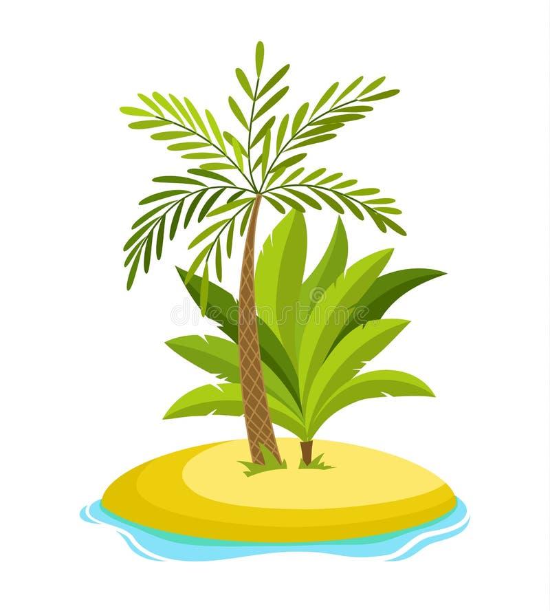 La palma tropicale sull'isola con l'illustrazione di vettore di onde del mare ha isolato il fondo bianco Spiaggia sotto la palma  illustrazione di stock