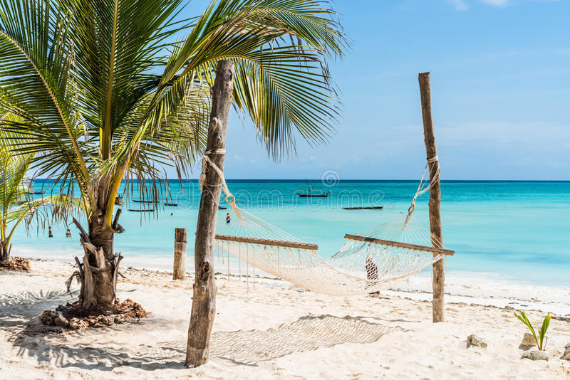 La palma y la hamaca en Zanzíbar varan con el cielo azul y el océano en el fondo foto de archivo