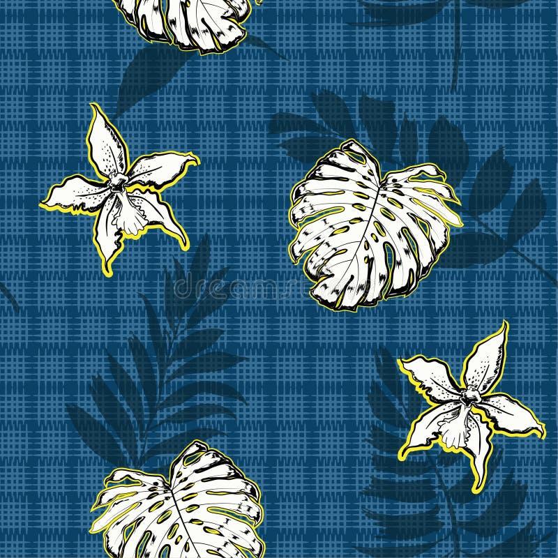 La palma y las hojas tropicales blancas, orquídea florece a mano a GR dibujado libre illustration