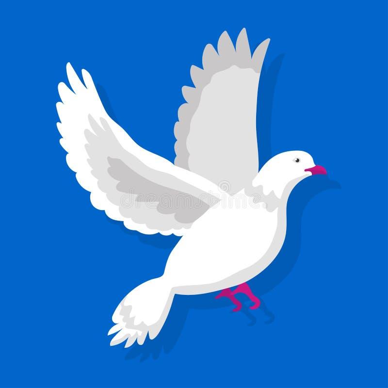 La paloma blanca que vuela aislada en fondo azul vector el ejemplo ilustración del vector