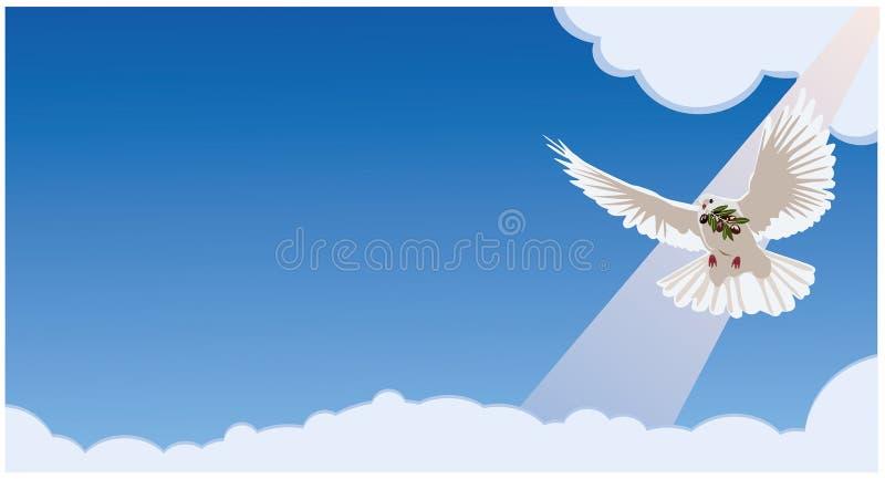 La paloma lleva una rama de olivo Fondo azul horizontal libre illustration