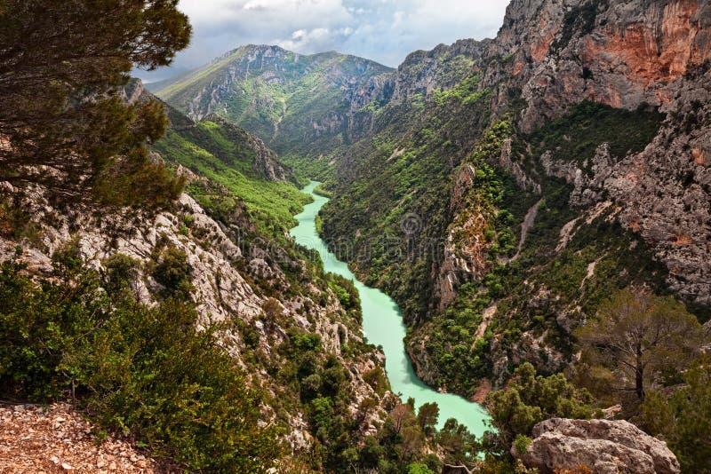La Palud-sur-Verdon, Provence, Frankrike: klyftor av Verdonen rive royaltyfri fotografi