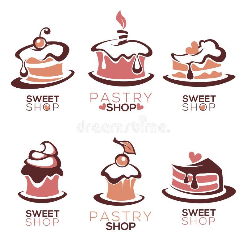 La panadería, pasteles, confitería, torta, postre, dulces hace compras, stock de ilustración