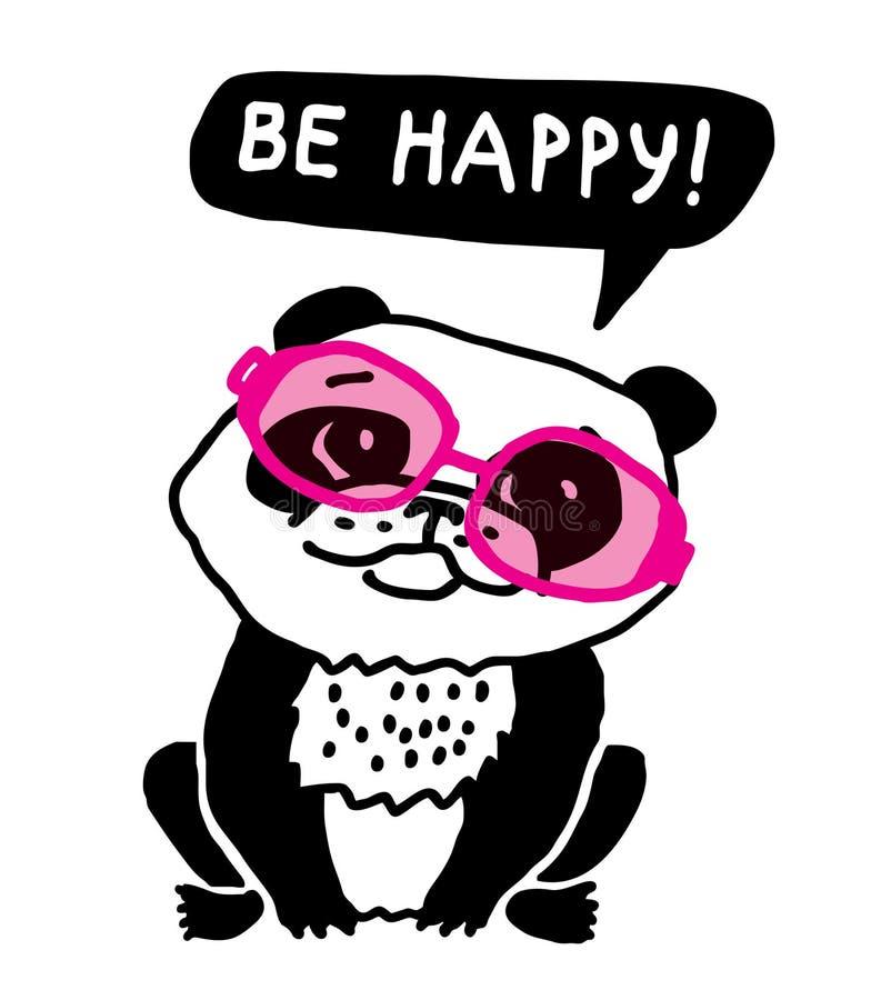 La panda de la ecología en vidrios rosados sea feliz stock de ilustración