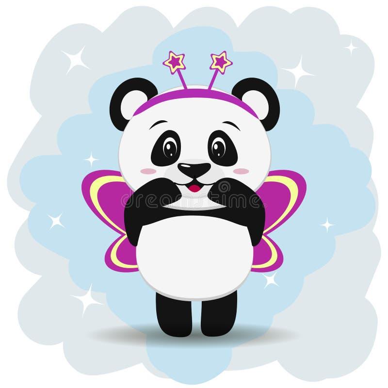 La panda dulce en traje rosado de la mariposa, en el estilo de la historieta se coloca con las manos aumentadas ilustración del vector