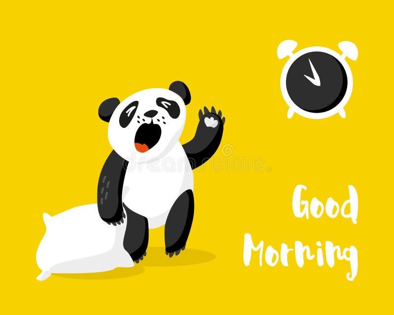 La panda linda con la almohada despierta Tarjeta de la buena mañana con el despertador y el oso Ilustración del vector stock de ilustración
