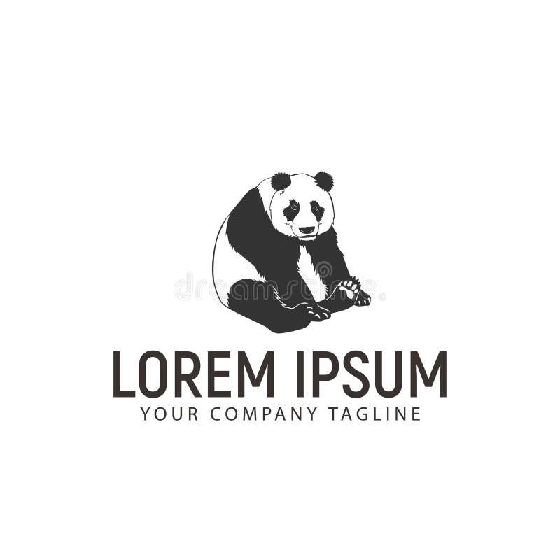 La panda sienta la plantilla del concepto de diseño del logotipo ilustración del vector