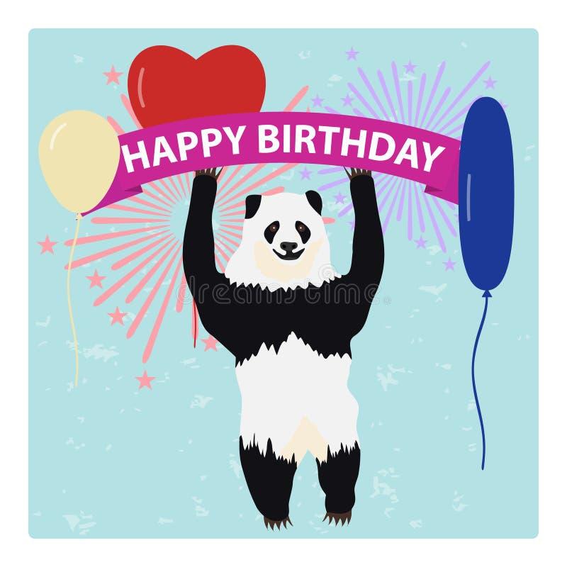 La panda sostiene una cinta congratulatoria con los globos contra la perspectiva de los fuegos artificiales ilustración del vector