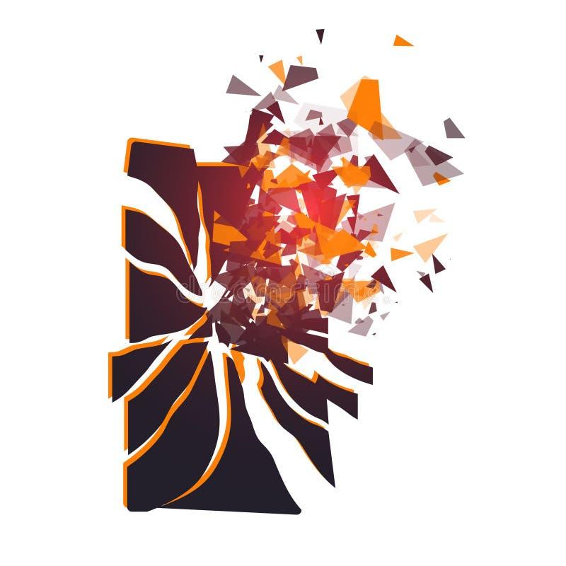 La pantalla agrietada del teléfono rompe en pedazos Smartphone quebrado partido por la explosión Exhibición del teléfono roto Adm stock de ilustración