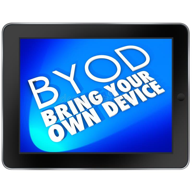 La pantalla azul de la tableta de BYOD trae sus propias siglas del dispositivo stock de ilustración