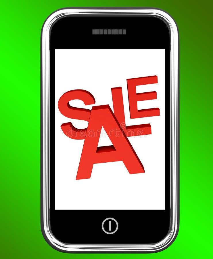 La pantalla de la venta del teléfono móvil muestra descuentos en línea stock de ilustración