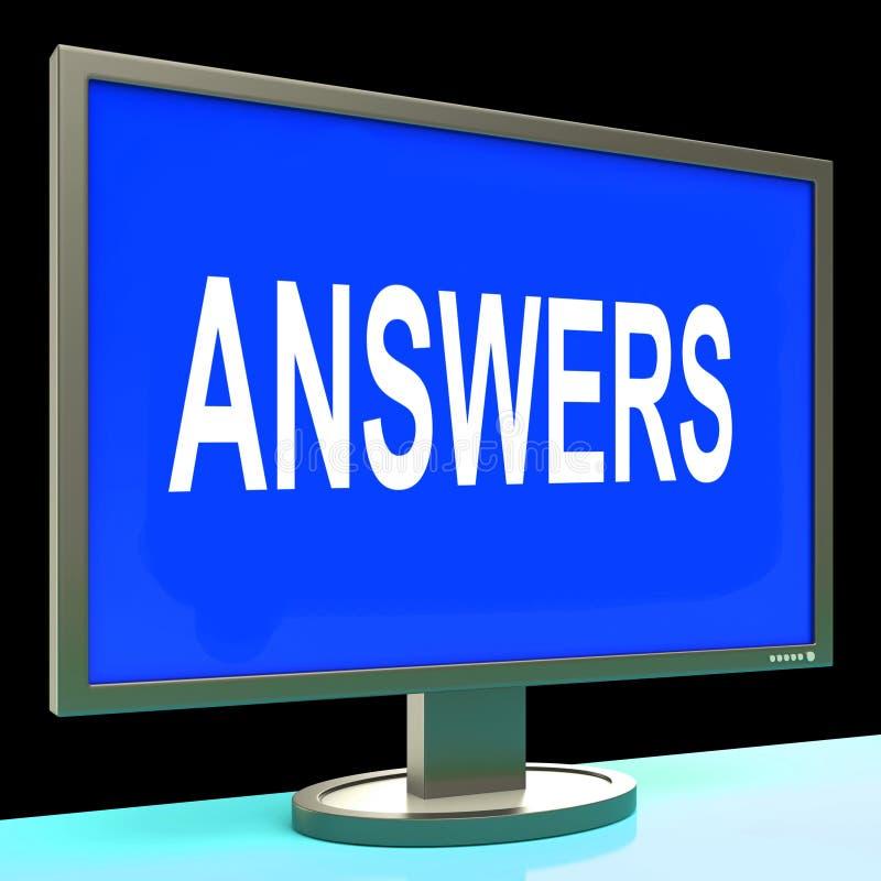 La pantalla de las respuestas muestra ayuda y ayuda de ayuda en línea stock de ilustración