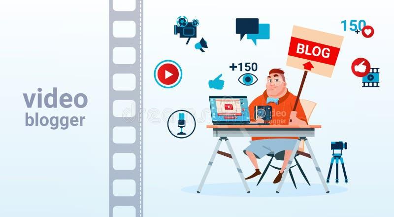 La pantalla de ordenador video de la cámara del Blogger del hombre Blogging suscribe concepto libre illustration