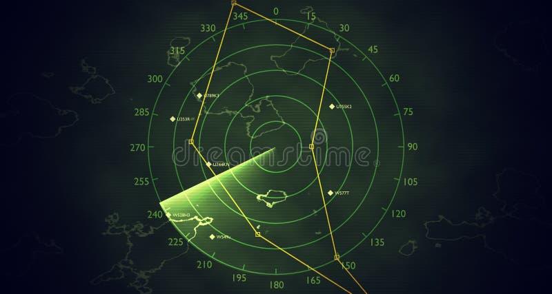 La pantalla de radar militar está explorando tráfico aéreo 3D rindió la ilustración ilustración del vector