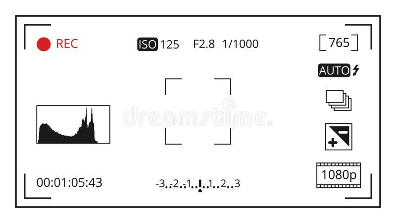 La pantalla de visualización de concentración del visor de la cámara con los iconos del control de la foto vector la plantilla ilustración del vector
