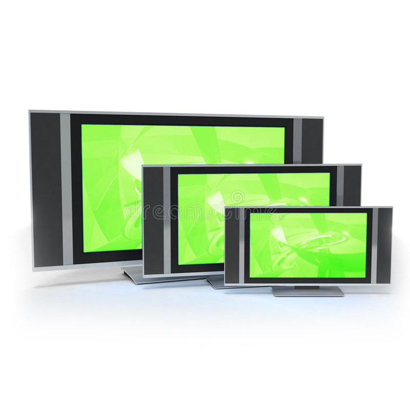 La pantalla TV del LCD en 3 diversas tallas se pone verde ilustración del vector