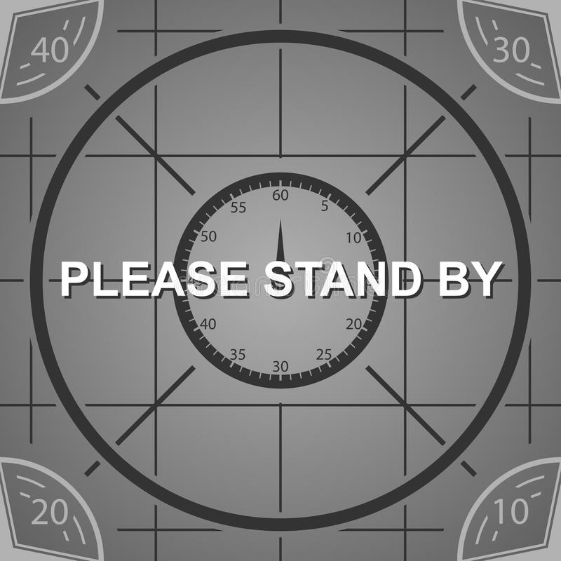 La pantalla vieja de la carta de resolución de la TV, hace una pausa por favor el fondo stock de ilustración