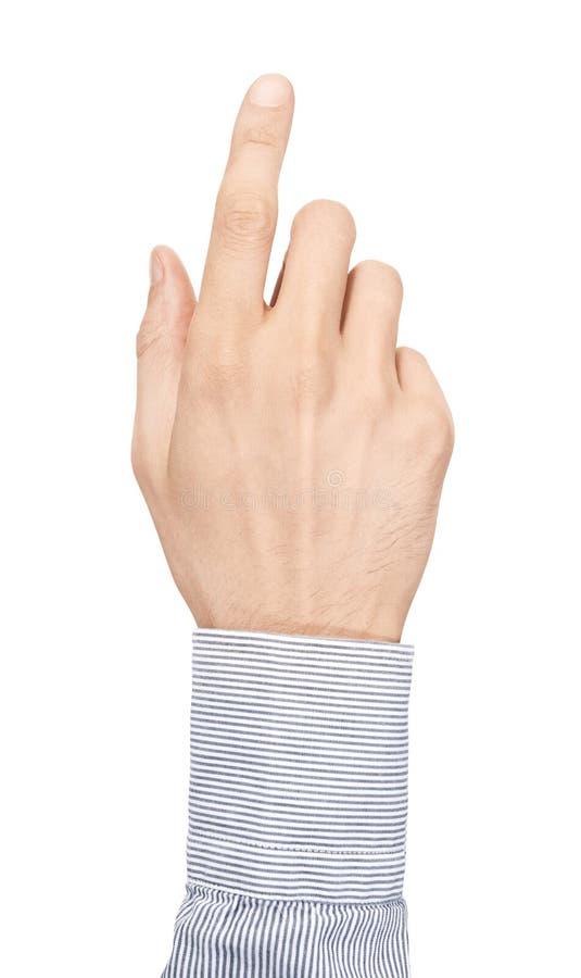 La pantalla virtual del tacto de la mano aisló foto de archivo libre de regalías