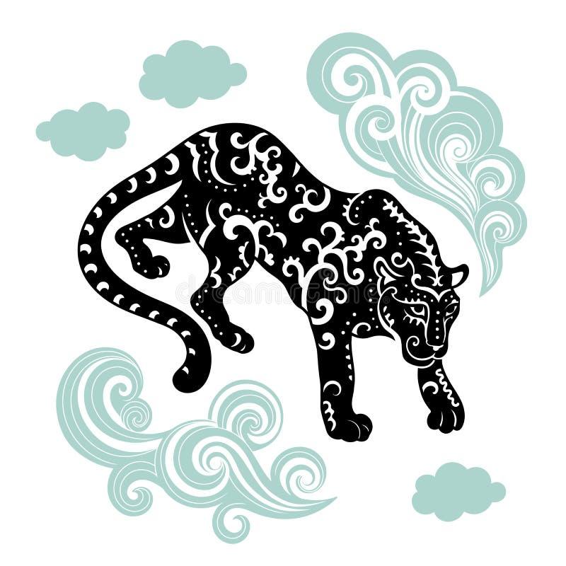 La pantera nativa tribal única del vector puede ser utilizada para la materia textil stock de ilustración