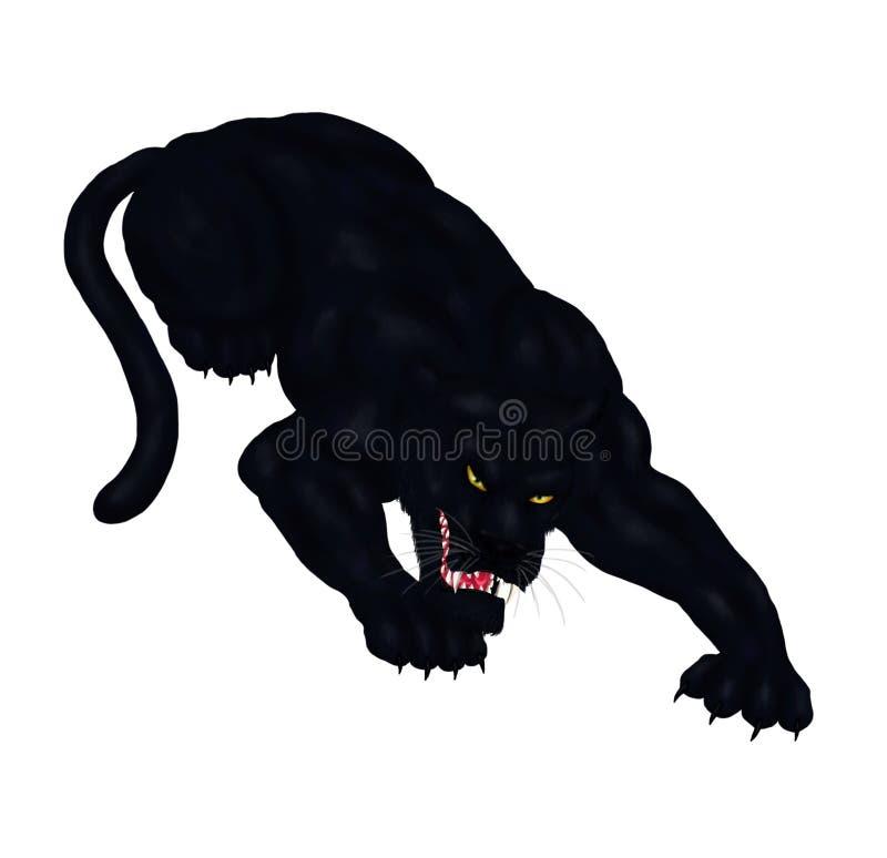 La pantera negra salvaje grande que se agacha, alista para pegar 2018 stock de ilustración
