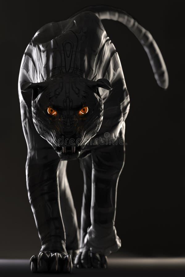 La pantera nera di sguardo diabolica del cyborg con l'ardore rosso osserva immagine stock