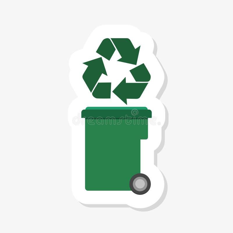 La papelera de reciclaje verde con recicla el icono del símbolo aislado Icono del bote de basura Muestra del compartimiento de ba libre illustration