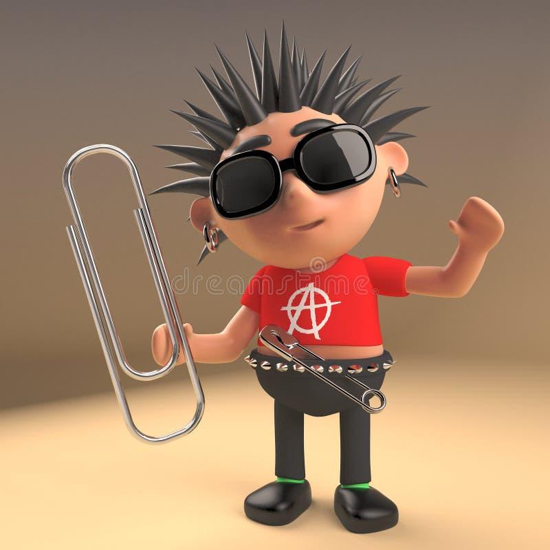 La papeterie s'est occupée du rocker punk tenant un trombone, l'illustration 3d illustration stock