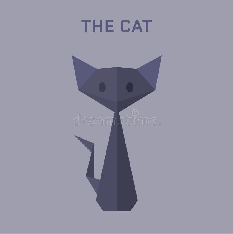 La papiroflexia de Cat Animals vector el ejemplo completamente bajo, polivinílico stock de ilustración