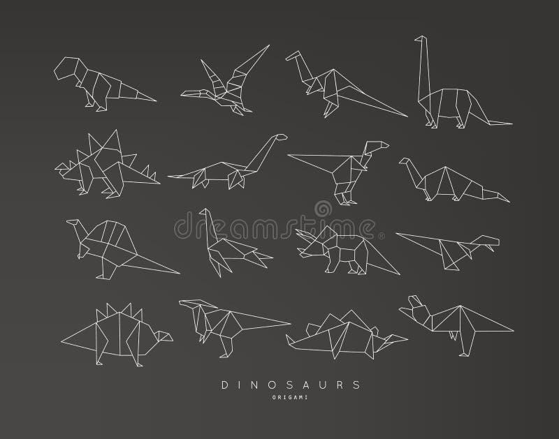 La papiroflexia de Dinosaurus fijó negro plano stock de ilustración