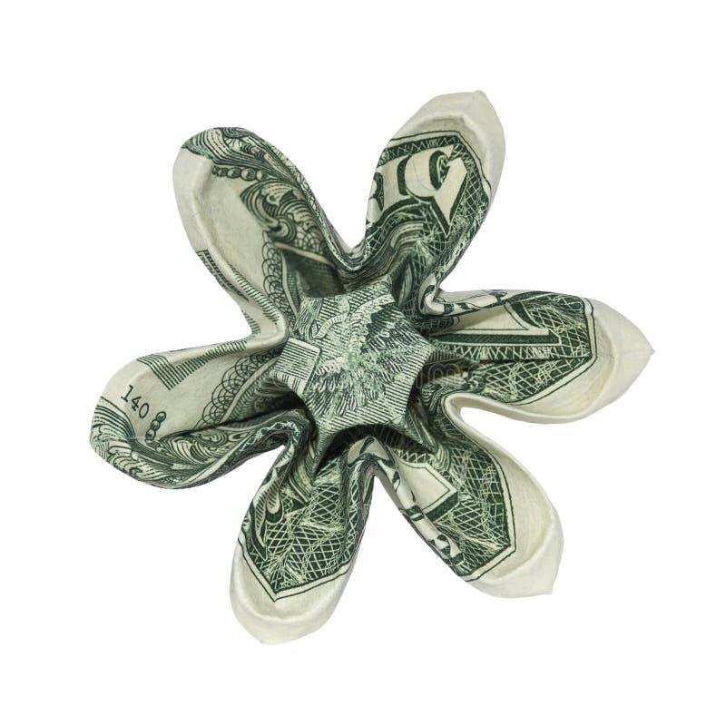 La papiroflexia del dinero seis pétalos FLORECE el un billete de dólar real imágenes de archivo libres de regalías
